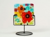 Poppies, fused glass on a candle stand